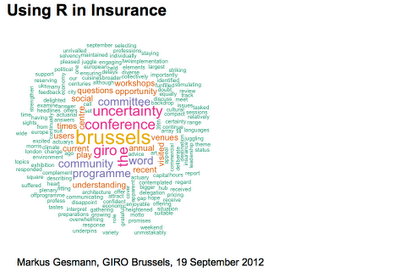 Using R in Insurance at GIRO 2012