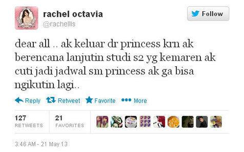 alasan rachel keluar dari princess