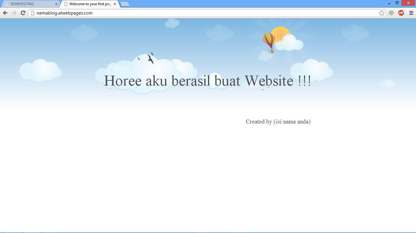 Hasil Akhir Cara Membuat Website Gratis