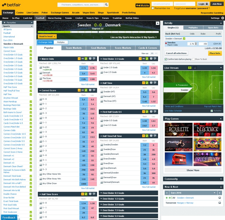 Betfair Live Betting Offers