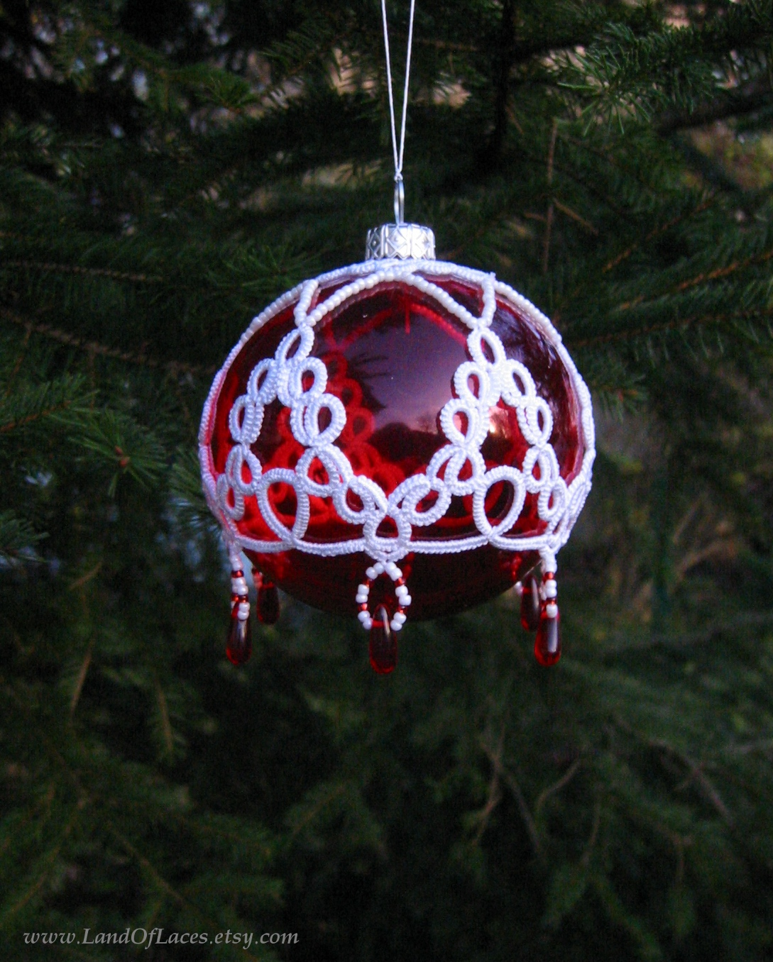 https://www.etsy.com/listing/210727576/red-glass-ball-with-tatted-lace