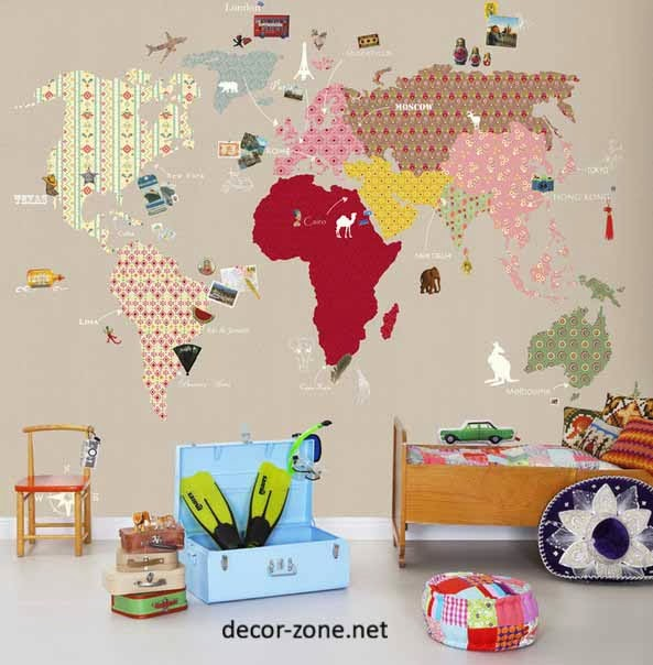 Carte Du Monde Decor Chambre