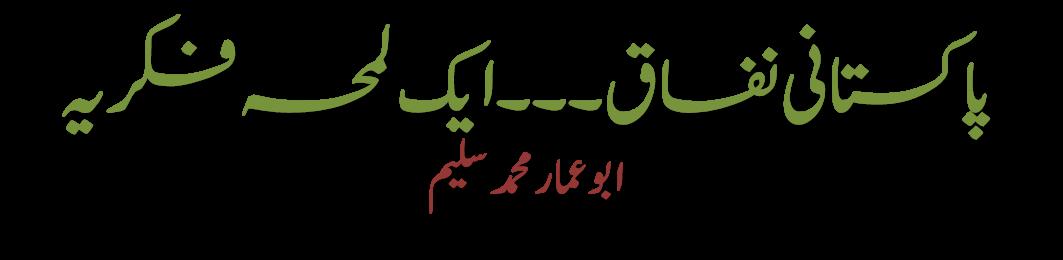 پاکستانی نفاق۔۔۔ ایک لمحہ فکریہ