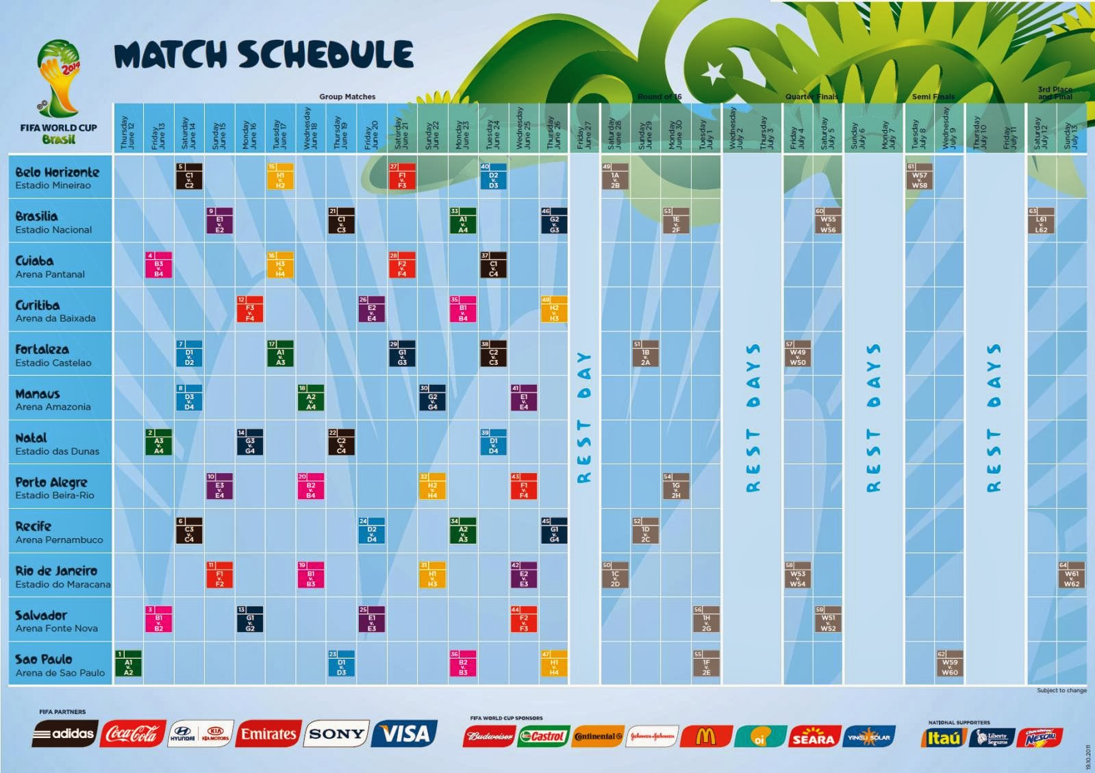 You can download this FIFA 2014 World Cup Match Schedule Wallpaper and