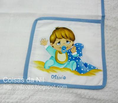 """""""fralda de boca com pintura de menino com cobertor"""""""
