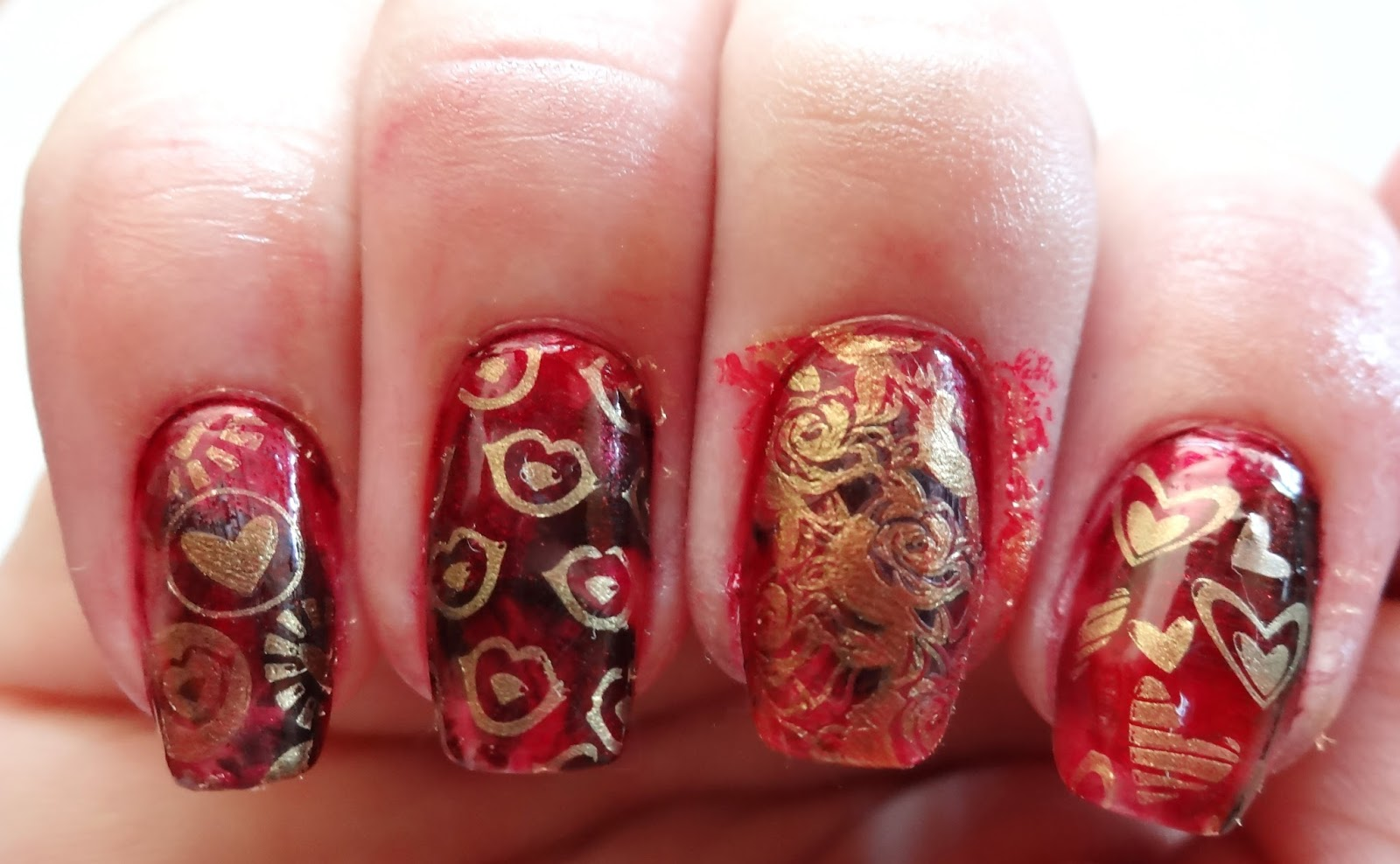 Stamp designs on nails