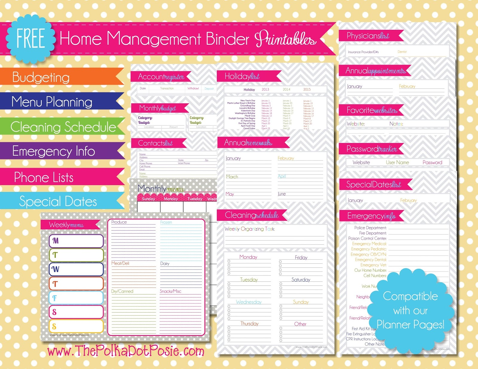 The Polka Dot Posie: How to Print & Assemble our Large Planner Pages