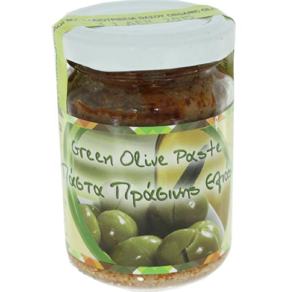 Glas Olivenpaste aus grünen Oliven