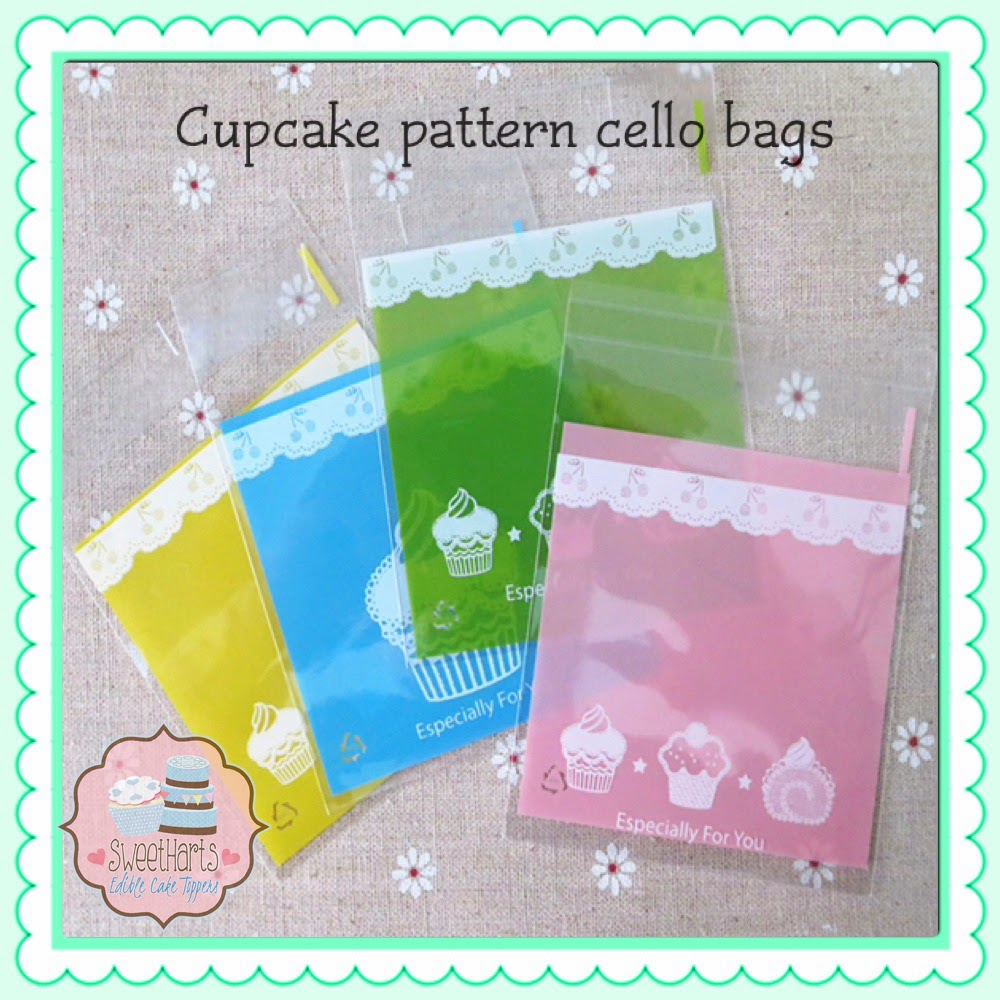 cupcake patterned cello cookie bags