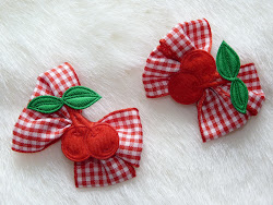 gigham cherry bow hairclips
