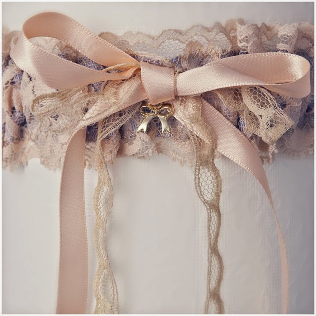 Peach and Lilac Lace Garter