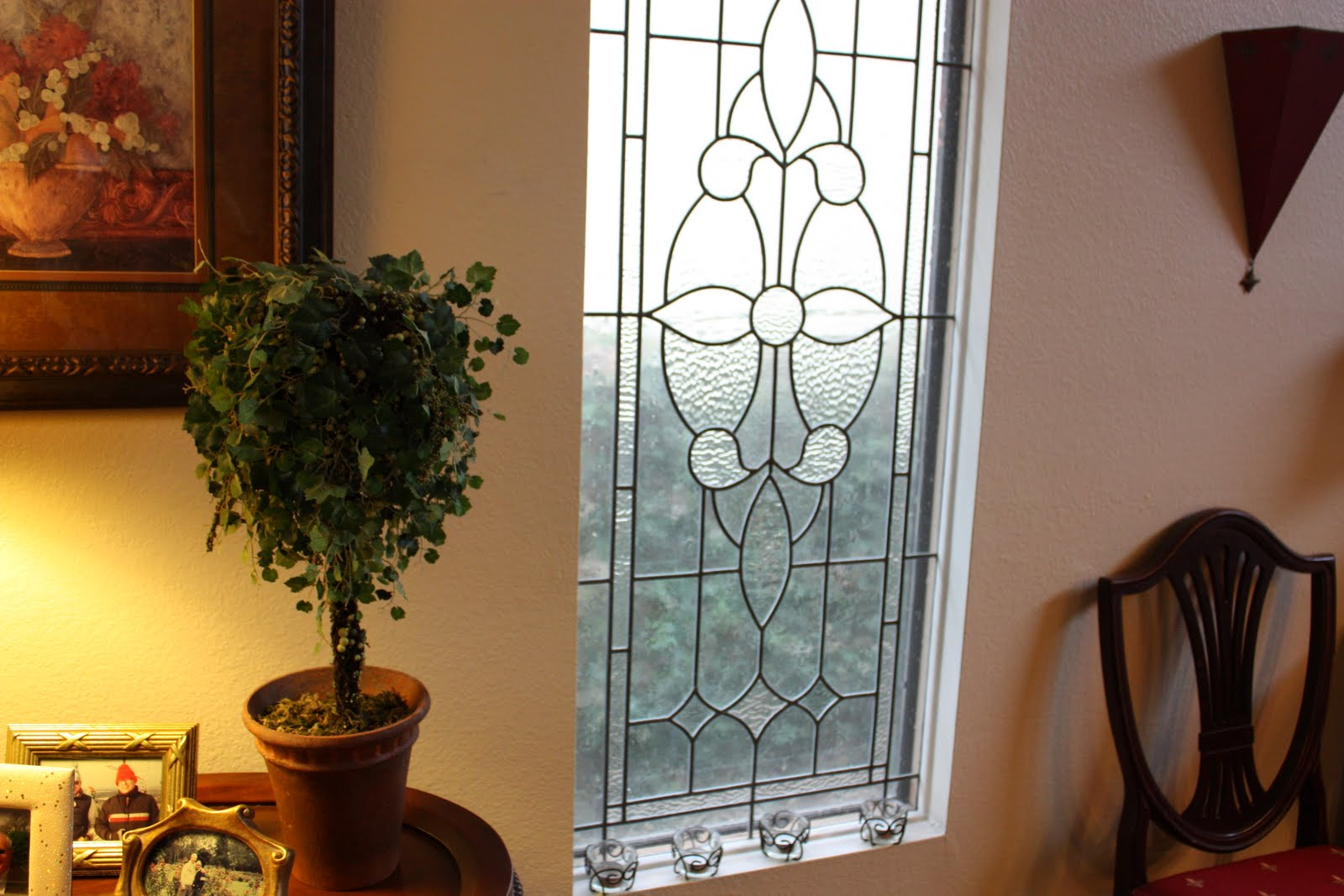 balanced style non stained glass window