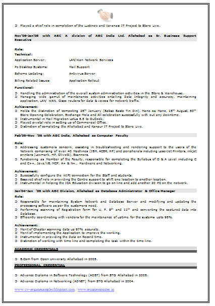 jan04jan 06 with abc division allahabad as database administrator office manager - Cisco Network Engineer Sample Resume