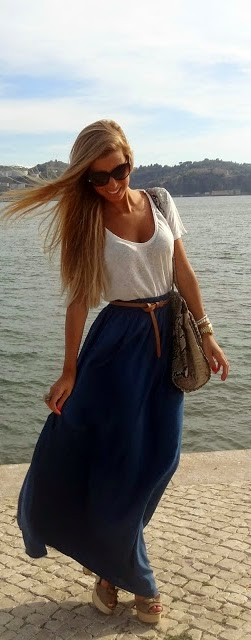 Long Blue Stradivarius Skirt with Loose Tee Shirt and Zara Sandals | Chic Summer Outfits