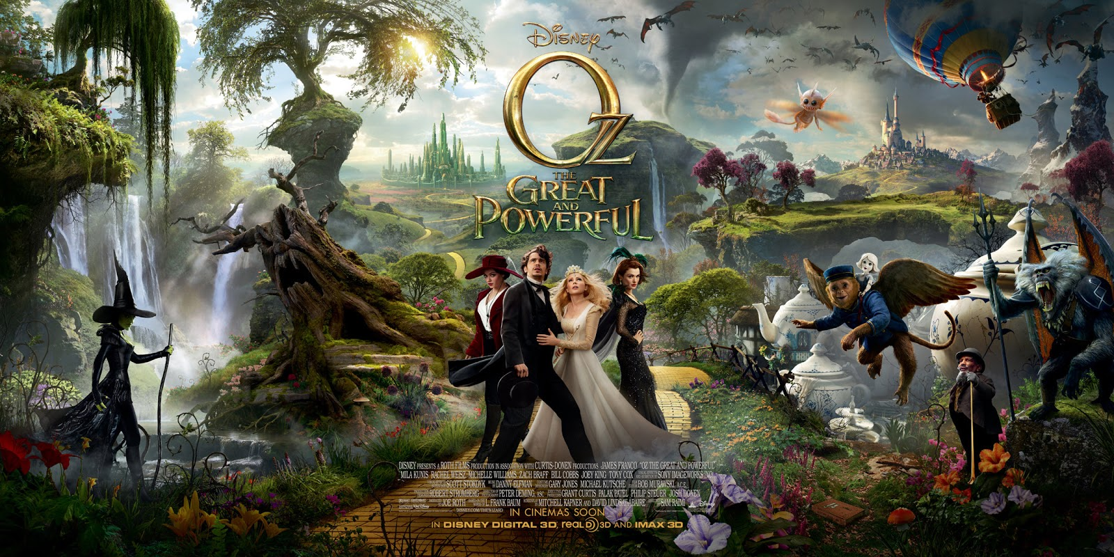 Movie poster showing the cast of Oz the Great and Powerful