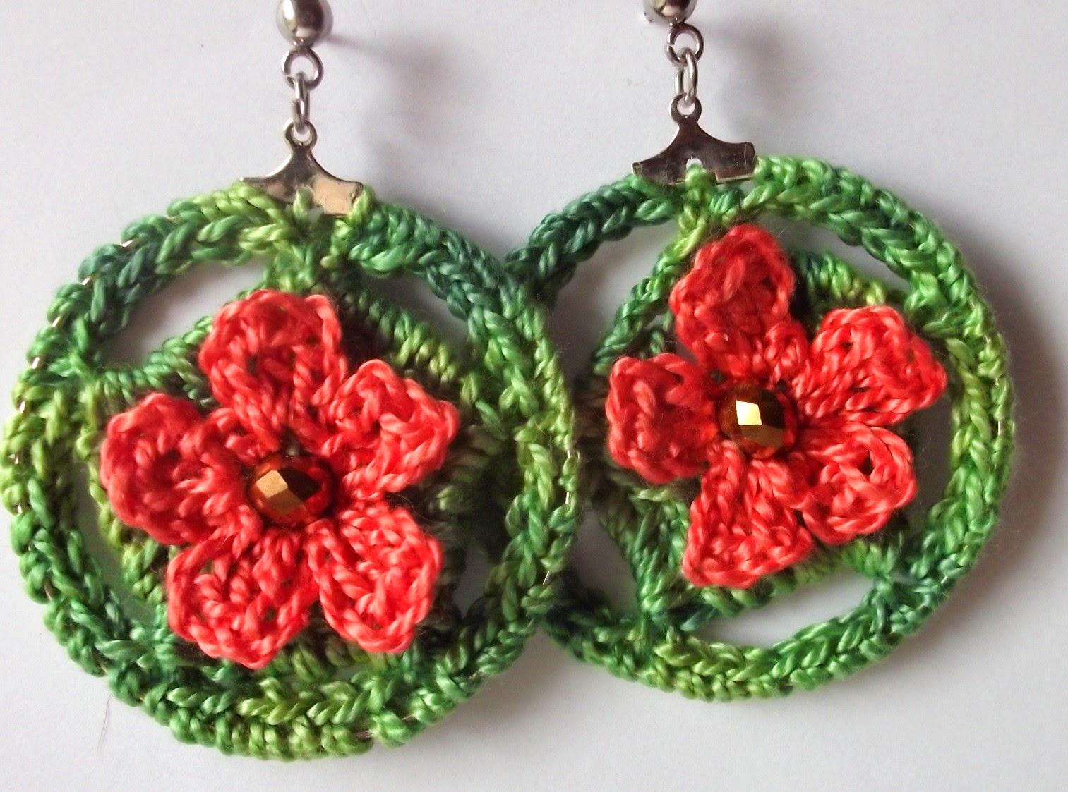 Gossamer Tangles: Hoop-La: Two Patterns for Crocheted Drop Hoop Earrings