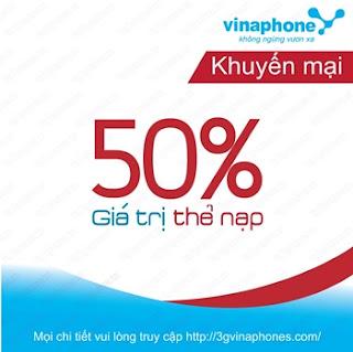 Khuyến mãi 50% nạp thẻ Vinaphone ngày 11/11/2015