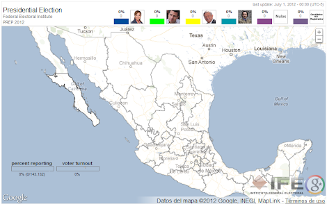 Mapa del Programa de Resultados Electorales Preliminares (PREP) Presidente México