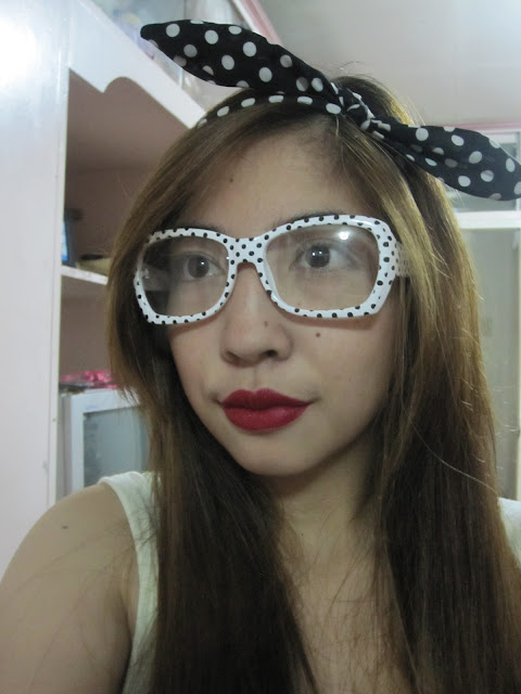 black and white polka dot glasses