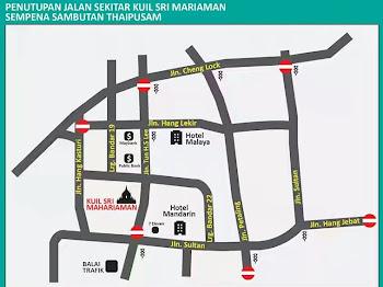 10 jalan utama di Kuala Lumpur ditutup sempena Thaipusam