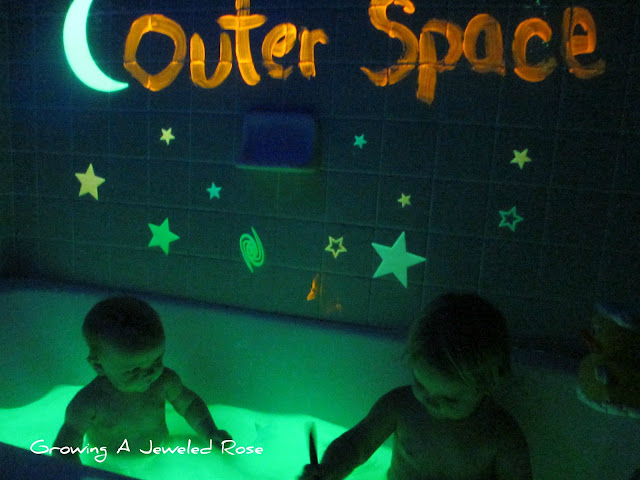 Outer Space themed glowing bath glow water