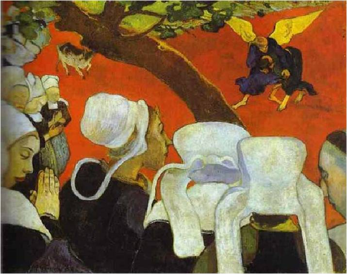 Paul Gauguin  Vision after the Sermon  Jacob Wrestling with the Angel    Vision After The Sermon
