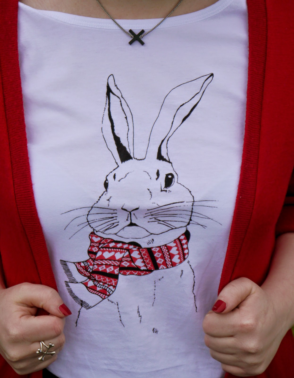 Brat and Suzie tshirt, Brat & Suzie, rabbit tshirt, winter style, Scottish Blogger, Styled by, British design, London brand, Tatty Devine, rabbit in a scarf, red scarf