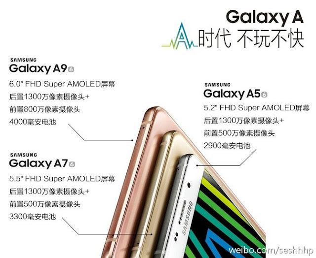 Samsung Galaxy A9 akan dibekali layar 6 inch dan baterai 4,000 mAh