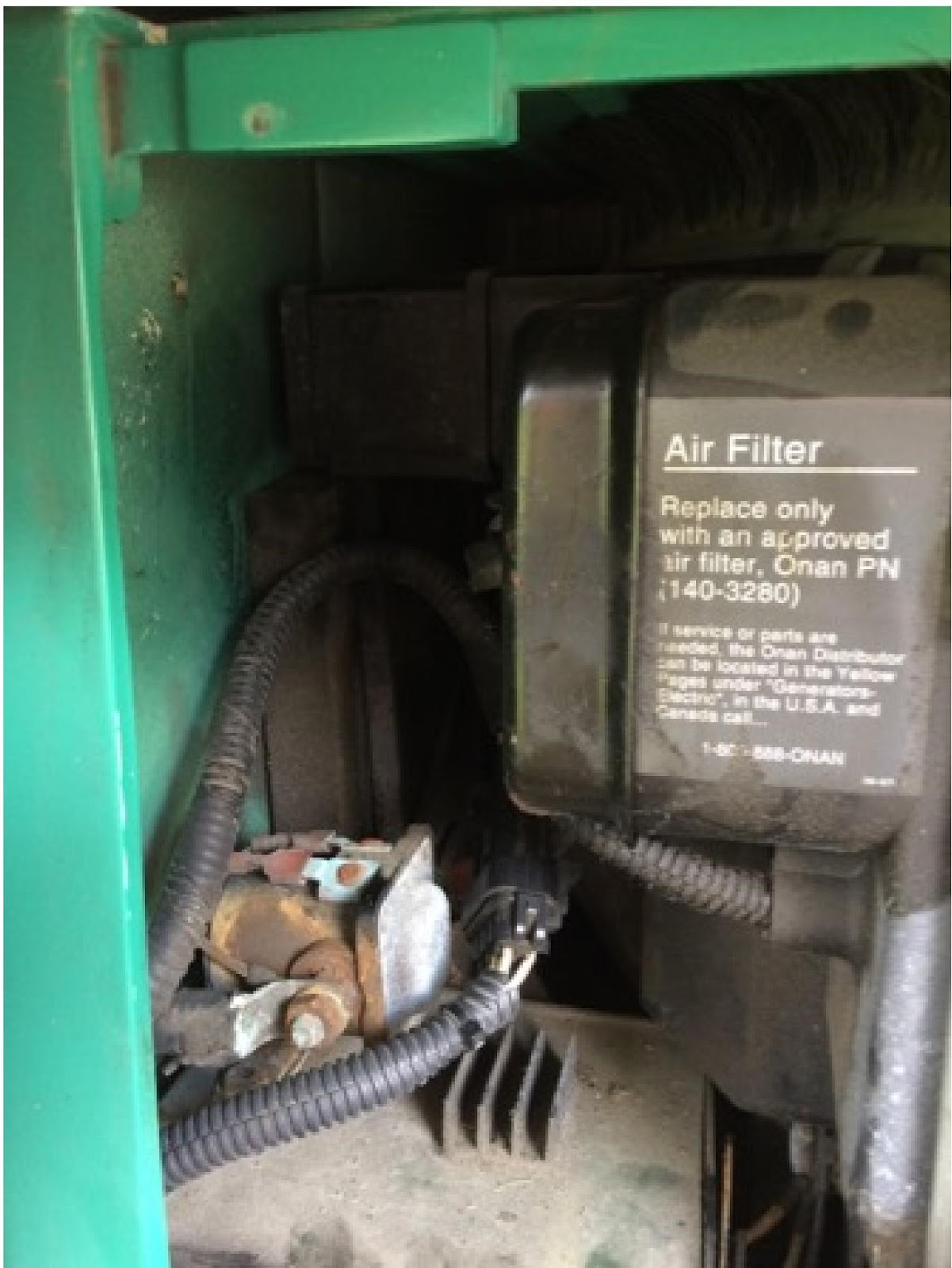 The fuel line will be on the underside of the RV. It will run up against  the exterior of the Onan generator housing outside of the area where these  two ...