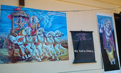 Lord Krishna paintings on the walls in ISKCON temple in Kannur, Kerala