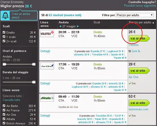 siti per trovare voli a poco prezzo