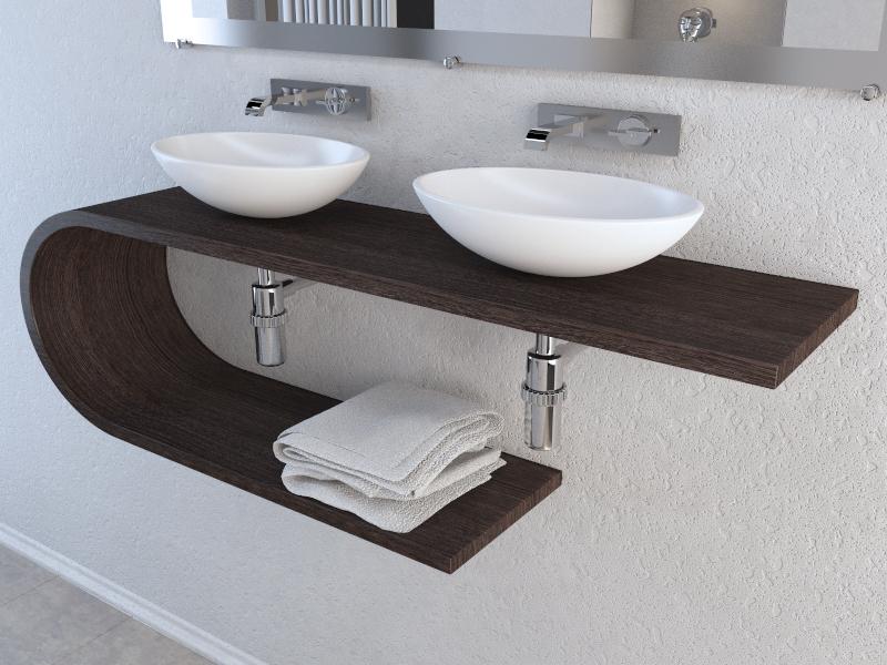 Marcelo Rezende  Ilustrador 3d Banheiro Moderno  Pia Duas Cubas -> Pia Para Banheiro Moderno