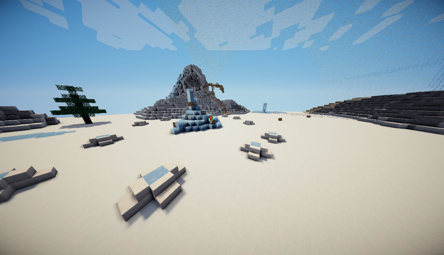 last but not least our custom hunger games map a snow biome austin and i made it ourselves