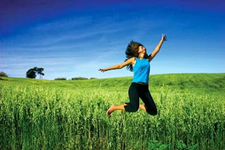 woman jumping with energy