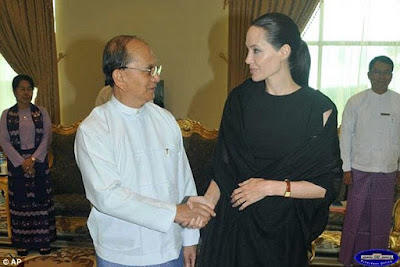 Angelina Jolie met the President of Burma