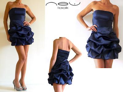 Robe bustier satin bleu, New Look, NEUVE