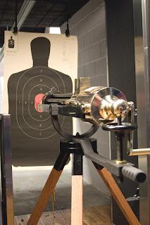 Inside shot of gun and target as Las Vegas Strip Gun Club.