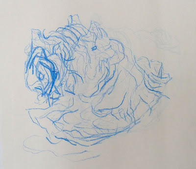 Mum's shell drawn in Tracy Emin's, beneath the sea, blue wax crayon on paper