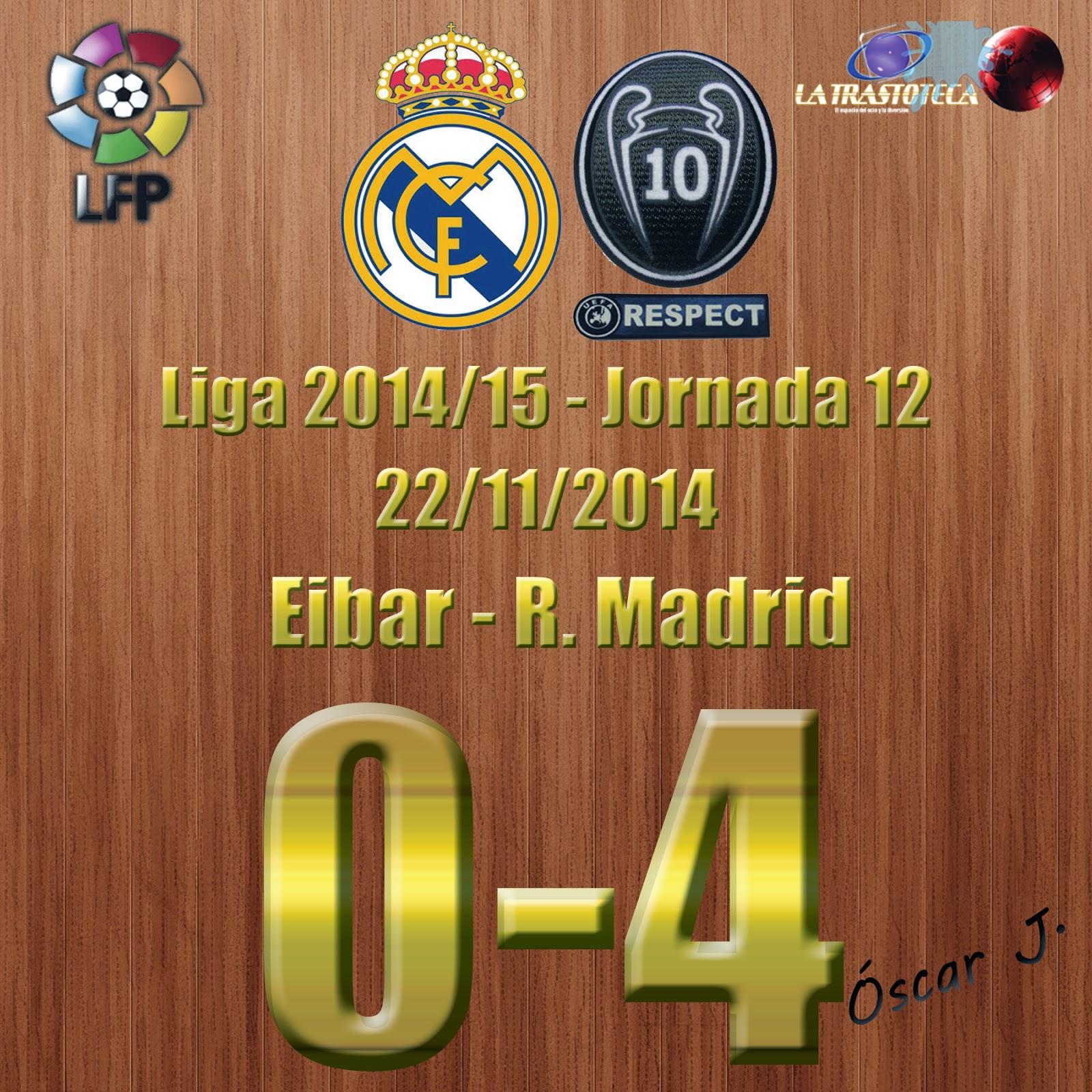 Eibar 0-4 Real Madrid. Liga 2014/15 - Jornada 12 (22/11/2014). Otro doblete de Cristiano Ronaldo