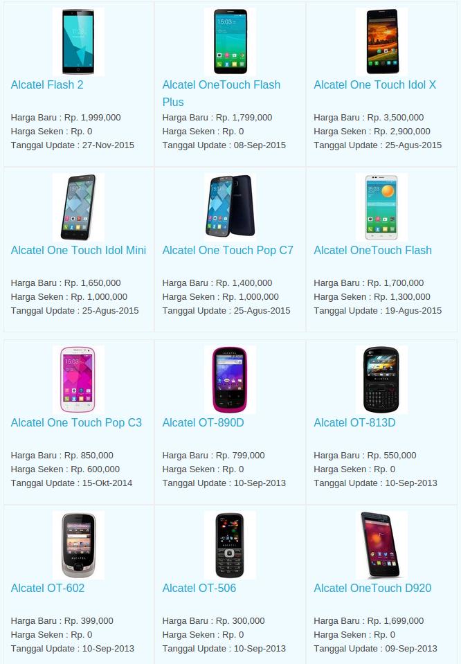 Daftar Harga Hp Alcatel Desember 2015
