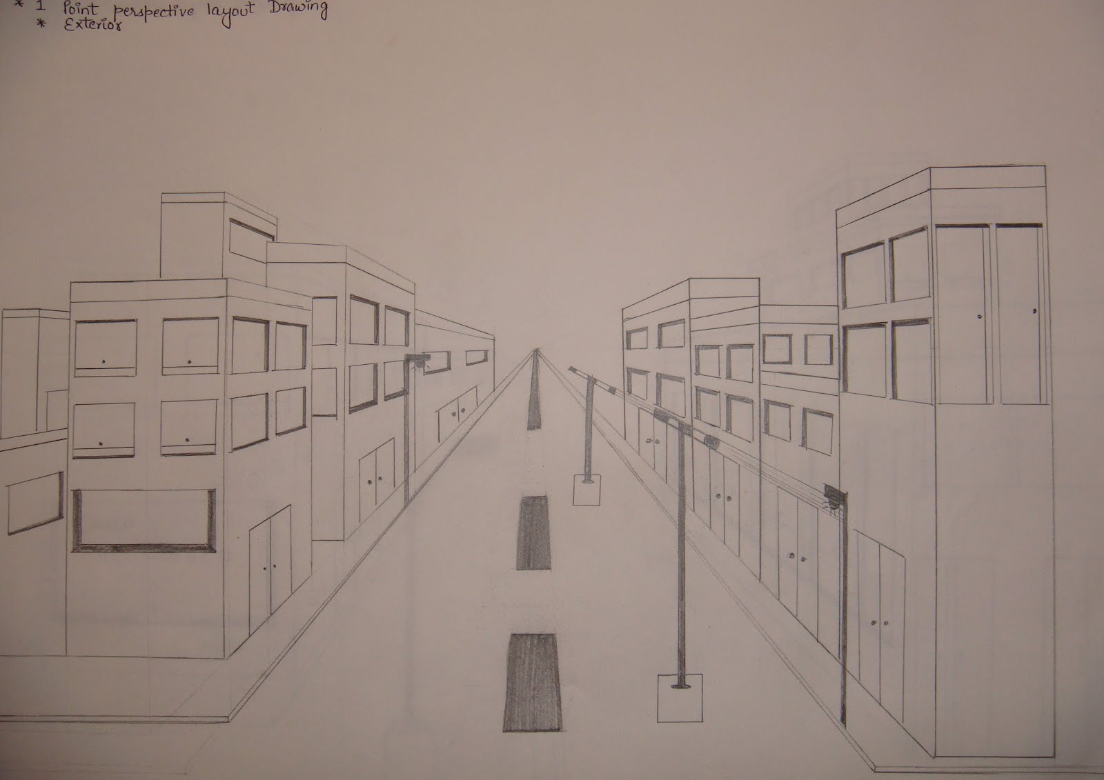 Art and animation 1 point perspective layout drawing for Exterior 1 point perspective