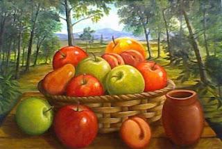 Cuadros Frutas Con Paisaje De Fondo