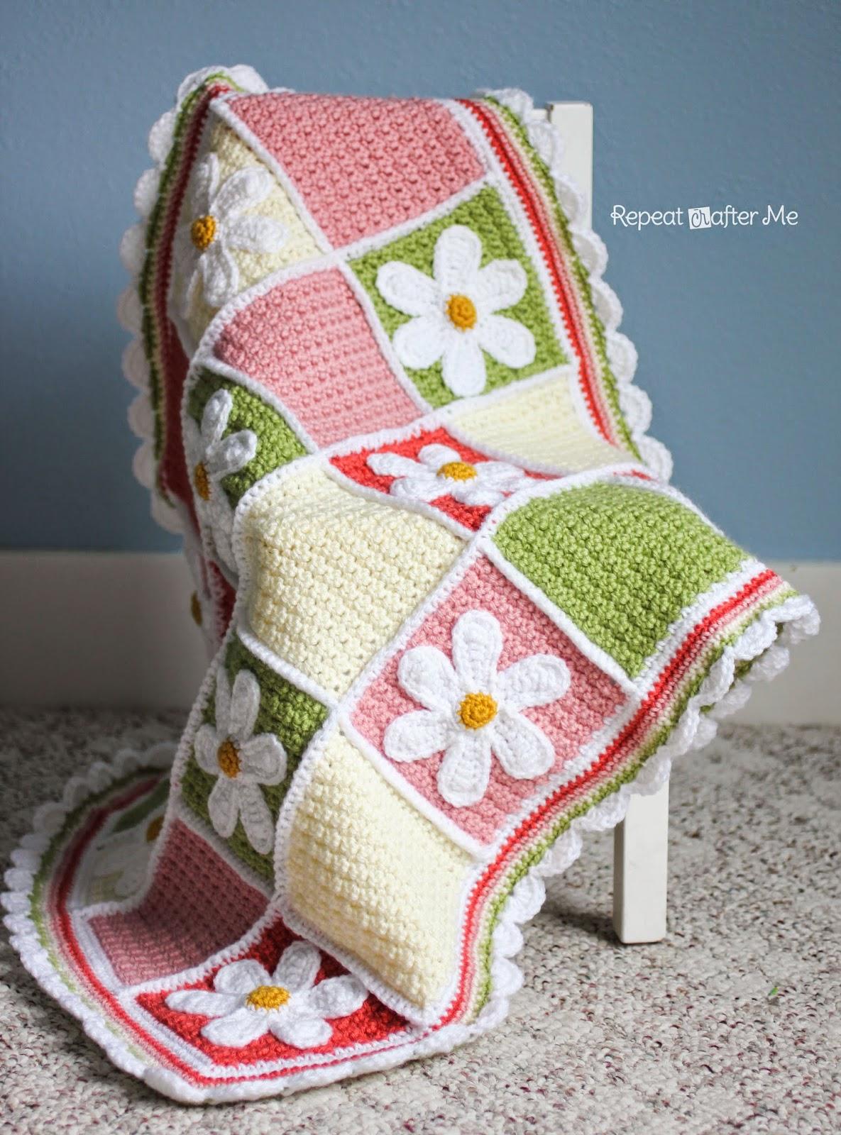 Crochet Daisy Flower Blanket Pattern : Crochet Daisy Afghan - Repeat Crafter Me