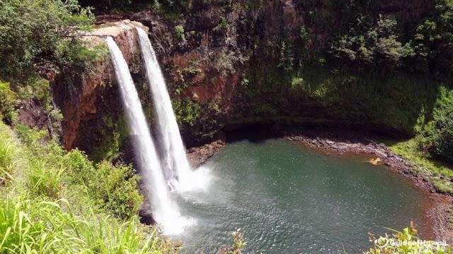 Cachoeira dupla de Wailua Falls - Hawaii