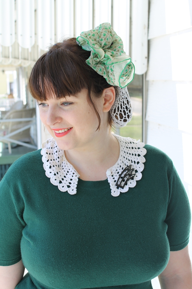 1940s crochet snood and crochet collar with art deco celluloid brooch