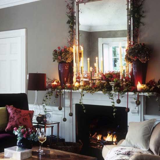 decora la chimenea para navidad