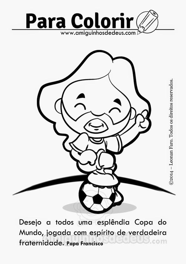 copa do mundo papa francisco desenho para colorir