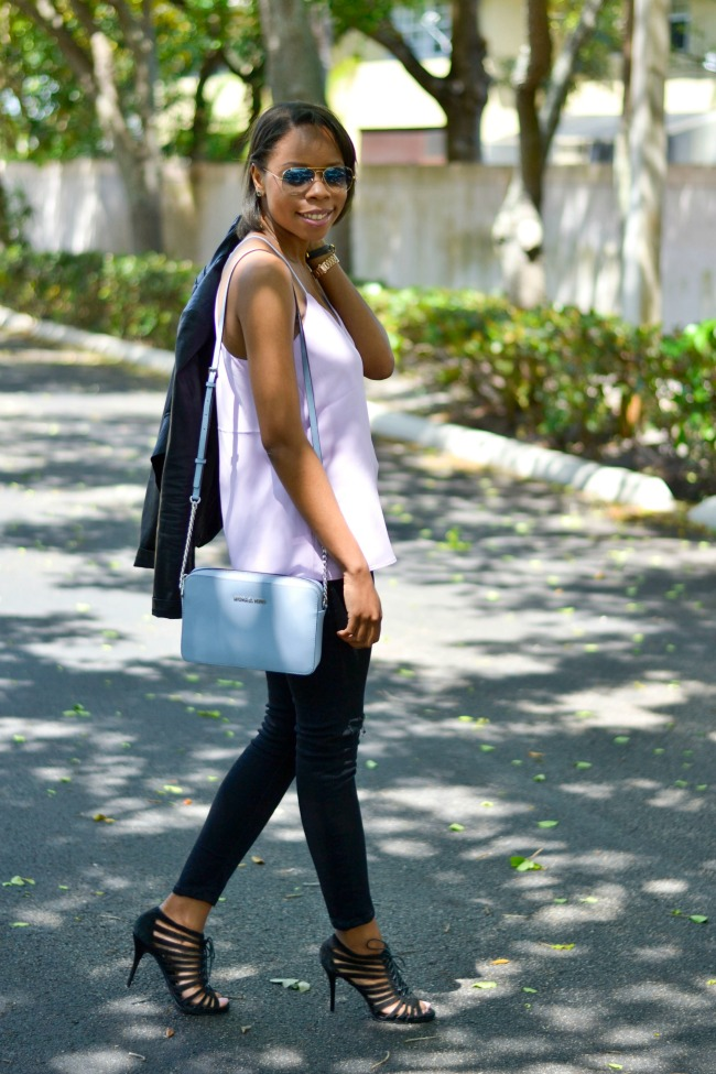 Lavender Cami & Distressed Denim | Spring Outfit