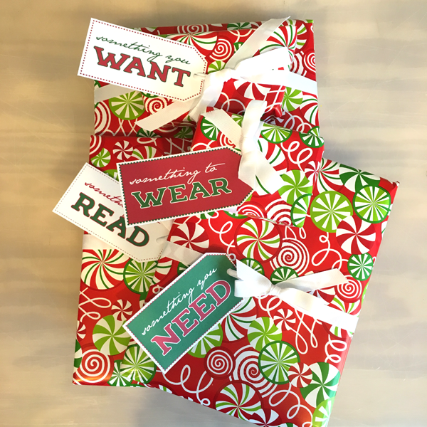 Want, Need, Wear, Read Christmas Tags, Free Printable