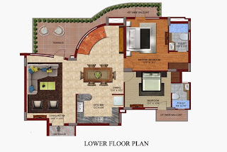 Czar Suites :: Floor Plans:-Darius 5 - Lower Floor Plan Area - 2920 sq. ft. Terrace Area - 447 sq. ft.